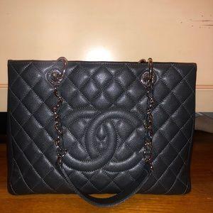 Brand New Authentic Chanel Dark Gray Grand Shopper